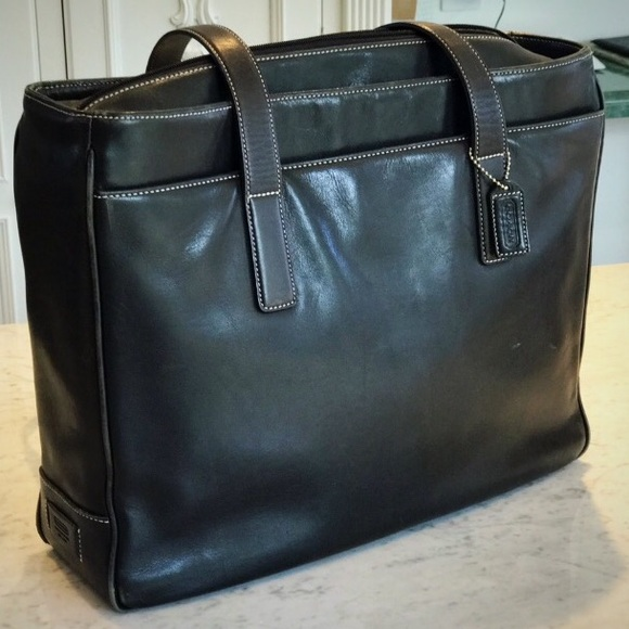 Coach Handbags - Coach Black Leather Laptop Bag